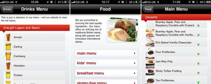 J D Wetherspoon iPhone App Food & Drink Menus