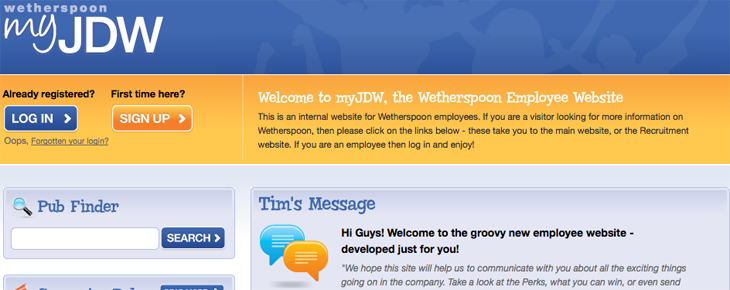 J D Wetherspoon Staff Extranet